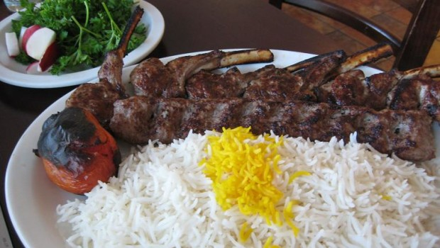 beef kabob and rack of lamb